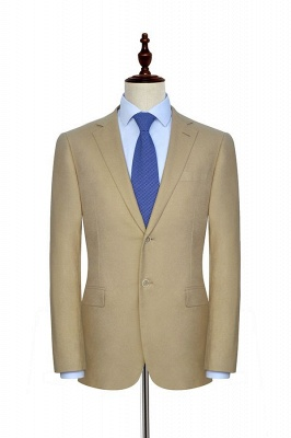 Light Brown Linen Notched Lapel Casual Suit For Men | Fashion Three Pockets Single Breasted Quinceanera Tuxedos_1