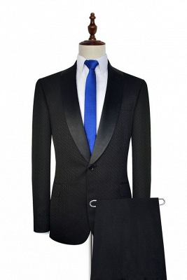 New Arrival Black Small Squares Jacquard Shawl Collar Customized Tuxedos for my Quince  | Single Breasted One Button Unique Quinceanera Tuxedos