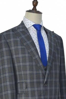 Nueva llegada Traje de tres piezas de solapa gris oscuro | gran enrejado pico para formal de 3 bolsillos traje de boda de un solo pecho para los hombres_3