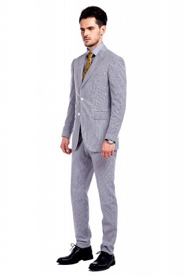 Popular Grey Stripes Breathable Causal Suit for Men | Peak Lapel Customize Single Breasted Chambelanes Tuxedos_2