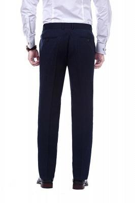 hecho a medida el traje de dos botones de solapa con muesca | Caliente Recomienda Traje de un solo pecho azul marino sólido_9