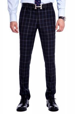 Traje de hombre de lana escocesa azul marino de un solo pecho gris oscuro | Traje de boda de dos botones con dise_o de solapa con muesca_7
