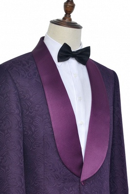 Hot Recommed Deep Purple Jacquard One Button Customized Tuxedos for my Quince  | Modern Shawl Collar Single Breasted Quinceanera Tuxedos_3