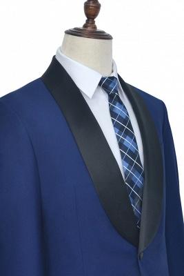 Con cuello chal de lana azul oscuro para el novio Traje de boda | Nuevo traje individual de pecho hecho a medida para hombre_3