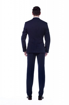 Fashion Double Breasted Navy Blue Made to Measure Suit | Modern Stripe Peak Lapel Chambelanes Tuxedos For Men_3