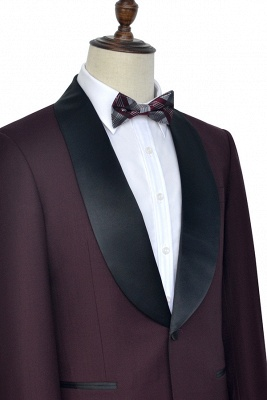 Maroon Single Breasted One Button Customized Tuxedos for my Quince  | Classic Two Pocket Shawl Collar Wool Quinceanera Suits_3