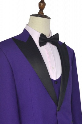 Fashion Purple Single Breasted Custom Made Chambelanes Tuxedos | Peak lapel 2 Pocket Tailored Quinceanera Tuxedos for Chambelanes  3 Pieces Set_3
