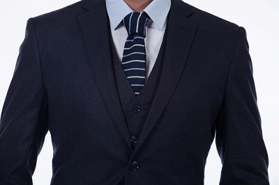 Dark Navy Peak Lapel Single Breasted Chambelanes Tuxedos | Premium Wool Three-Pieces Back Vent Customize suits_6