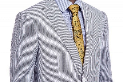 Popular Grey Stripes Breathable Causal Suit for Men | Peak Lapel Customize Single Breasted Chambelanes Tuxedos_4