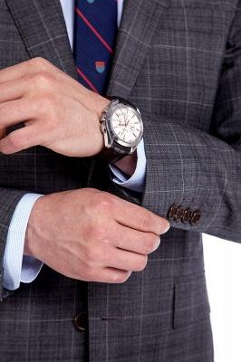 Traje a cuadros de primera calidad a medida en gris para hombres | Pocket solo traje de boda de pecho_6