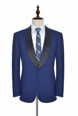 Con cuello chal de lana azul oscuro para el novio Traje de boda | Nuevo traje individual de pecho hecho a medida para hombre_2