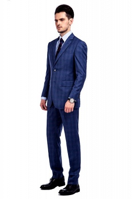 Nueva llegada Premium Blue Checks traje de lana para hombre | Moderno Vent Personalizado traje de boda de un solo pecho_2