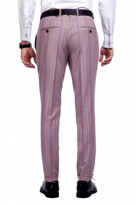 New Tailor Made Light Pink Plaid Chambelanes Tuxedos | 3 Pockets Single Breasted Slim Bespoke Suits_9