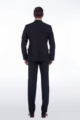 Popular Solid Black Stain Designs Fit Suit | Three Pockets Peaked Lapel Quinceanera Tuxedos_4
