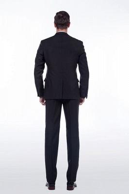 Sólidas populares trajes de novio de boda | Tres bolsillos de solapa pico manchas negras_4