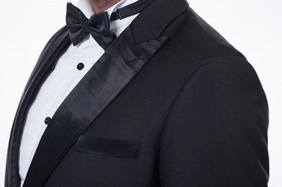 Sólidas populares trajes de novio de boda | Tres bolsillos de solapa pico manchas negras_6