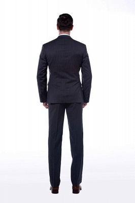 Double Breasted Stripe Tailoring Suit | Fashion Peak Lapel 3 Pockets Chambelanes Tuxedos For Men_3