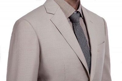Light Khaki Single Breasted Two Button Custom Suit | High Quality Peaked Lapel Hand Made Wool Suit for Men_5