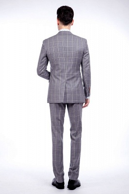High-end Light Grey Checks Customized Tuxedos for my Quince  | Stylish Design Single Breasted Peak Lapel quinceanera Prom Suits_3