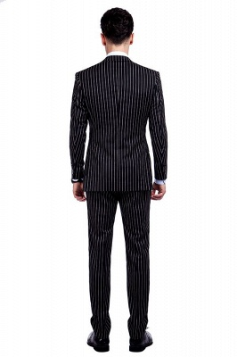 Tailor Hand Made White Stripes Business Suit for Men | Latest Design Peak Lapel Single Breasted Slim Fit Suit_3