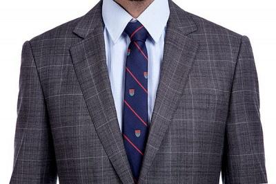 Traje a cuadros de primera calidad a medida en gris para hombres | Pocket solo traje de boda de pecho_4