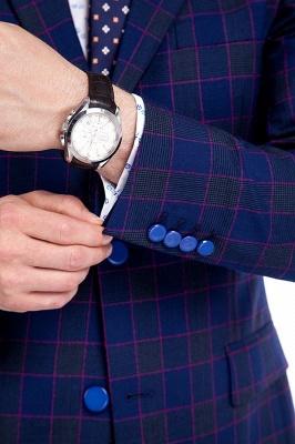 Traje de corte slim de dos botones en celosía azul premium | Traje de la boda del último dise_o de la solapa máxima de la alta calidad_6