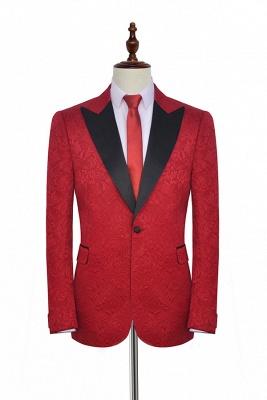 Jacquard rojo brillante solo esmoquin boda novio | Un Button Tailor Made Causal Suit para hombres_1