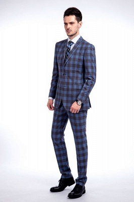 New Wool Slim Fit Purple Checks Suit | Popular Notched Lapel Single Breasted 2 Buttons Best Men Chambelanes_2