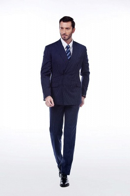 Fashion Double Breasted Navy Blue Made to Measure Suit | Modern Stripe Peak Lapel Chambelanes Tuxedos For Men_1