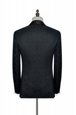 Pure Black Jacquard Shawl Collar One Button Customized Tuxedos for my Quince  | New Arrival 3 Pockets Single Breasted Slim Fit Chambelanes Suit_6