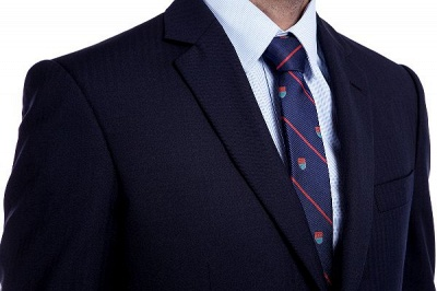 Fashion Navy Blue Herringbone Custom Made Business Chambelanes Tuxedos | Single Breasted 3 Pocket Tailored Suit For Men_6