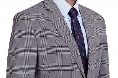 Modern Gris Checks Two Button Custom Formal Wedding Men Trajes | Solo pecho pico solapa negocio novio boda_5