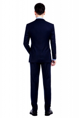 Navy Blue Notched Lapel 3 Pocket Premium Suit for Men | New Single Breasted Slim Fit Best GroomsChambelanes Tuxedos_4