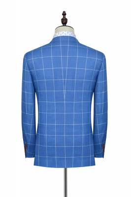 Slim Blue Grid 3 Pocket Wool Tailored Suit For men | New Single Breasted Peaked Lapel Chambelanes Tuxedos for my Quince_5