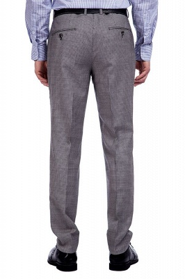 Grey Houndstooth 3 pockets Wool Suits for Men | Customize Peaked Lapel Single Breasted Chambelanes Tuxedos Tuxedos_9