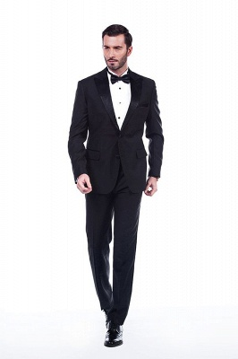 Popular Solid Black Stain Designs Fit Suit | Three Pockets Peaked Lapel Quinceanera Tuxedos_1