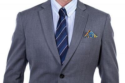 Nuevo dise_o de dos botones de un solo pecho traje personalizado | Alta calidad 2 piezas gris pico solapa novio_5