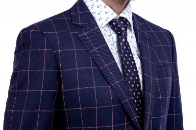 Recién azul marino cheques dos botones por encargo traje | Traje de novio de pana de un solo pecho y corte_5