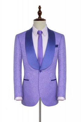 Lavender Jacquard Shawl Collar Customized Party Suits | Latest Design Single Breasted One Button Custom Chambelanes Tuxedos_1