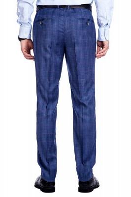 Nueva llegada Premium Blue Checks traje de lana para hombre | Moderno Vent Personalizado traje de boda de un solo pecho_9