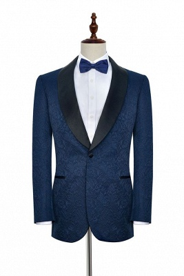 Navy Blue Popular Jacquard Custom Luxury Suit | Single Breasted One Button Quinceanera Tuxedos for Chambelanes_1