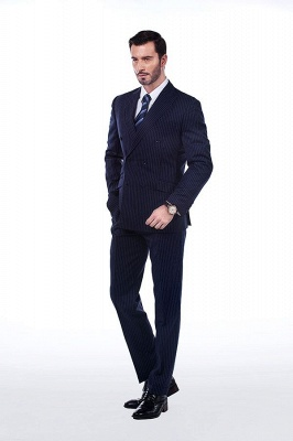 Fashion Double Breasted Navy Blue Made to Measure Suit | Modern Stripe Peak Lapel Chambelanes Tuxedos For Men_2