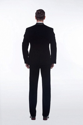 Cuello de terciopelo negro traje premium personalizado para hombre | El último traje de boda del novio del botón del dise_o uno_4