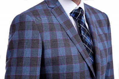New Wool Slim Fit Purple Checks Suit | Popular Notched Lapel Single Breasted 2 Buttons Best Men Chambelanes_5