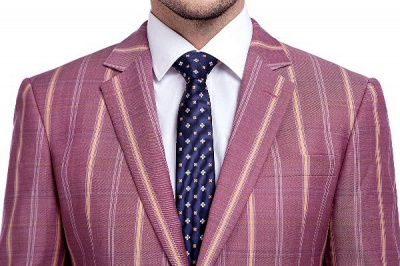 Dark Pink Checks Single Breasted Peaked Lapel Tuxedos | New Suit Formal Suit for Handsome Men_4