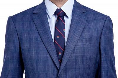 Nueva llegada Premium Blue Checks traje de lana para hombre | Moderno Vent Personalizado traje de boda de un solo pecho_4