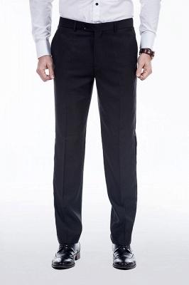 Sólidas populares trajes de novio de boda | Tres bolsillos de solapa pico manchas negras_8