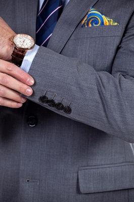 Nuevo dise_o de dos botones de un solo pecho traje personalizado | Alta calidad 2 piezas gris pico solapa novio_7