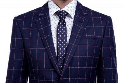 Recién azul marino cheques dos botones por encargo traje | Traje de novio de pana de un solo pecho y corte_4