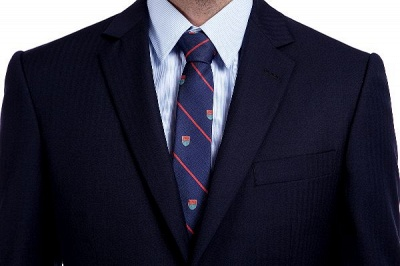 Fashion Navy Blue Herringbone Custom Made Business Chambelanes Tuxedos | Single Breasted 3 Pocket Tailored Suit For Men_5
